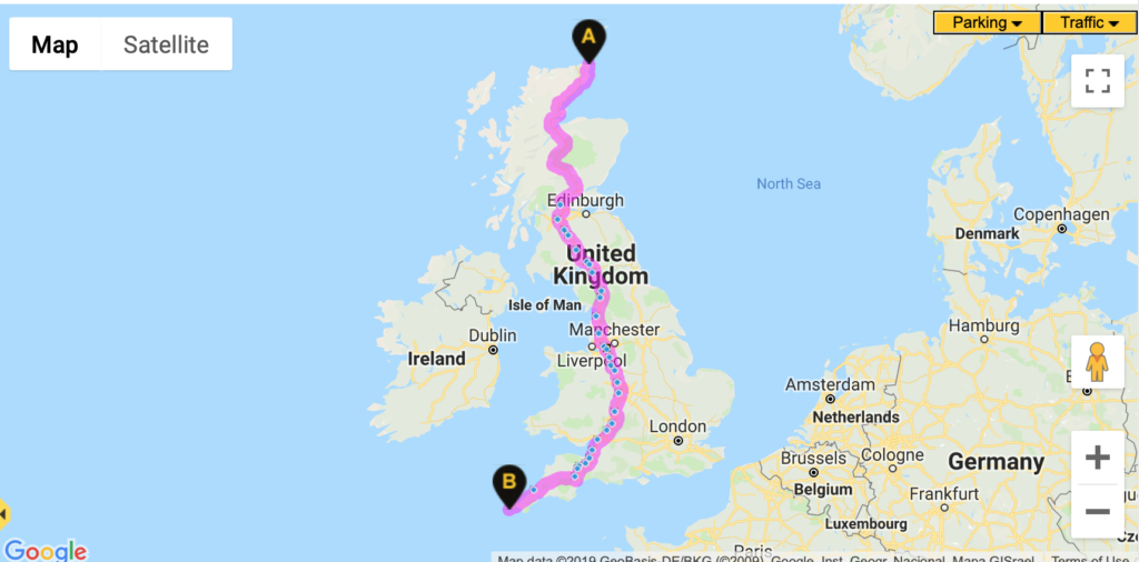 Route map john o groats to lands end