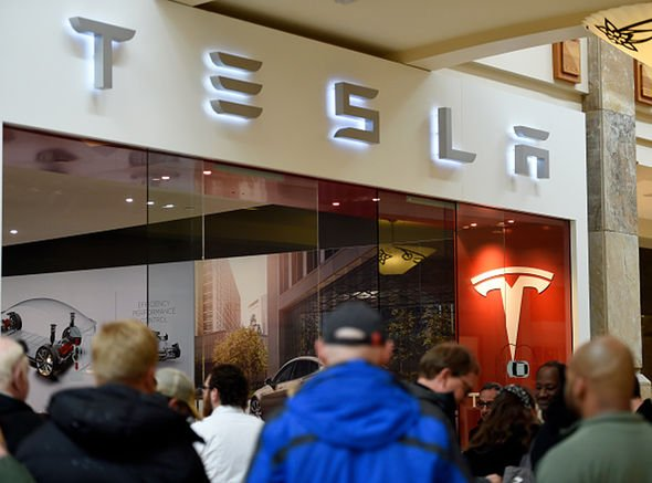 Tesla electric cars showroom