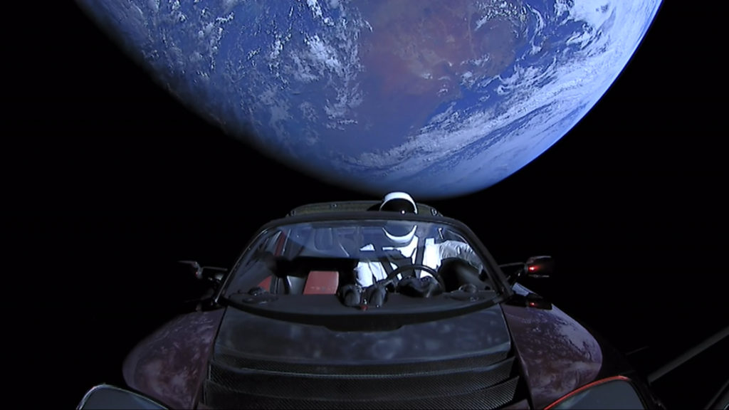 Tesla Roadster electric car In Space