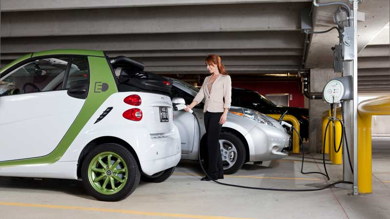 electric vehicles charging in car park to include Nissan Leaf