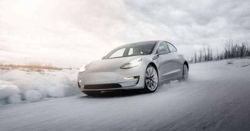 tesla electric car snow