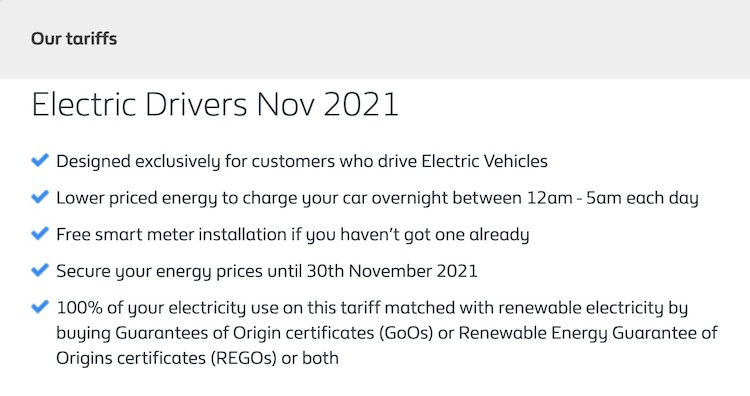 electric vehicle electric tariff