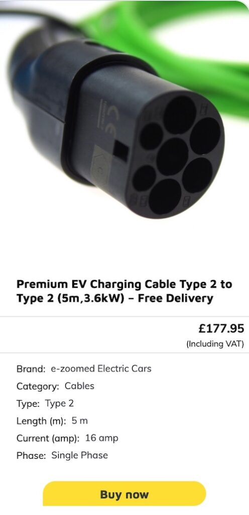 5 m EV charging cable UK